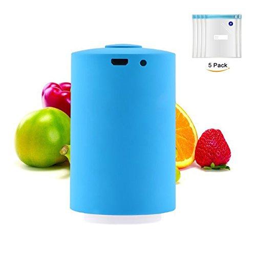 Portable Food Mini Vacuum Sealer Machine With 5Pcs Storage Bag Kitchen Sealer Household Vacuum Sealing Machine Blue