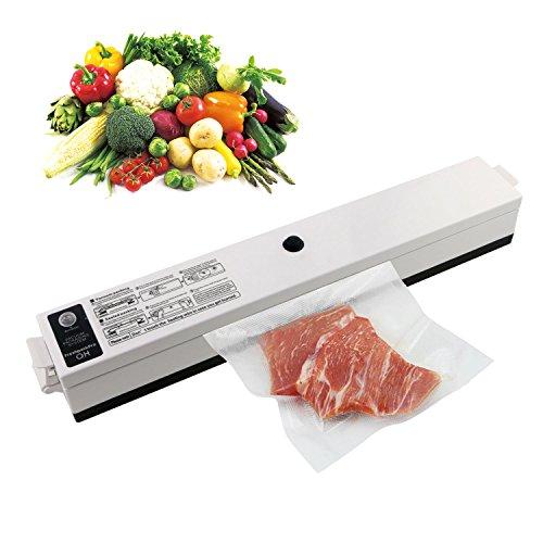 TedGem Vacuum Sealer Food Saver Machine One Touch Automatic Vacuum Sealing System with Starter Kit 15 Pcs Antibacterial Food Sealer Bags LED Seal Indicator Lights White