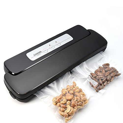 COSORI Automatic Vacuum Sealer Food Saver One Touch Vacuum Sealing System Machine with Starter Kit Vacuum Bags Roll LED Seal Indicator Lights Black