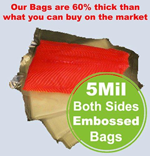 100 Pint 5 Mil 65 x 10 FoodSealer Vacuum Sealer Bag 60 Thicker Commercial Food Grade Vacuum Bags for your FoodSaver Weston Vacuum Sealers Seal-A-Meal Vacmaster Sous Vide Cooking - BPA FREE