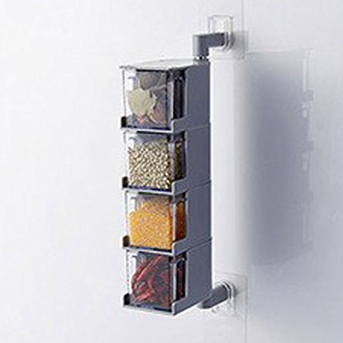 Transparent Spice Storage ContainersSquare Spice box Revolving Spice TowerSeasoning Storage OrganizationWall-mounted paste design stainless steel shaft Gray four layers