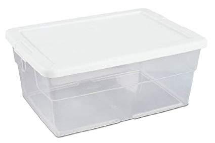 1677-8012 26 Quart Storage Box Container White Lid Clear Base - JJ240