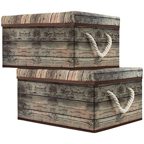 Sorbus Storage Box Set with Lid Carry Handles Foldable Frame Rustic Wood Grain Print Bins Great for Toys Memorabilia Closet Office Bedroom 2-Pack Wood Box Set - Brown