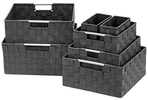 Sorbus Storage Box Woven Basket Bin Container Tote Cube Organizer Set Stackable Storage Basket Woven Strap Shelf Organizer Built-in Carry Handles 7 Piece - Grey