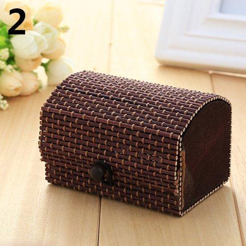 856store Exquisite Creative Bamboo Wooden High Capacity Case Cute Jewelry Box Storage Organizer