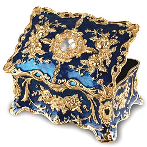 FLYVER Vintage Jewelry Trinket Box Rectangle Decorative Antique Floral Engraved Metal Box for Jewelry Trinket Storage Organizer