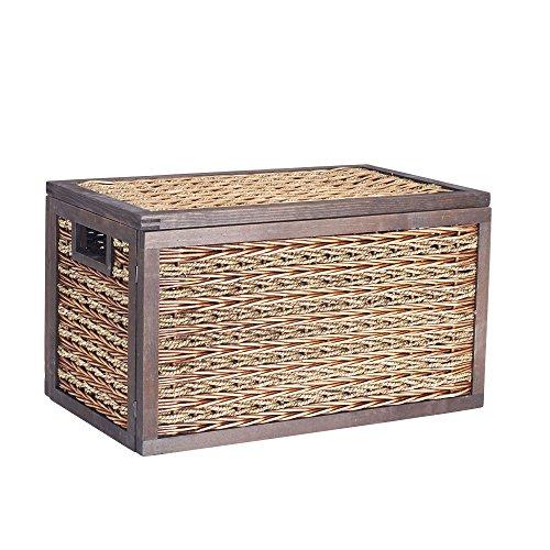 Household Essentials ML-5690 Large Seagrass Poplar Wicker Storage Box with Lid - 114H x 20W x 11D - Dark Brown