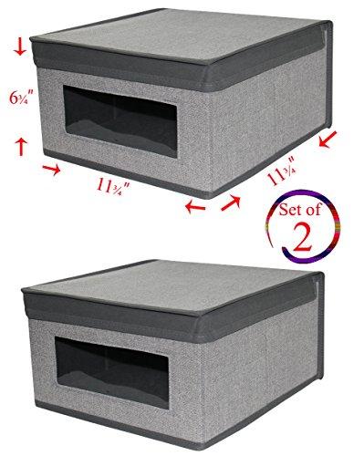 Set of 2 Heather Grey Storage Box with See-Through Window Grey Trim Convenient Storage Box with Lid Size 11 ¾'' x 11 ¾'' x 6 14''