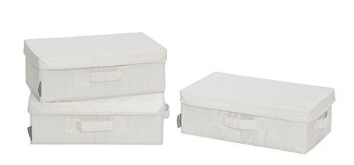 StorageManiac Canvas Storage Box with Lid Folding Basket Organizer Bin Bamboo Style 3-Pack Small