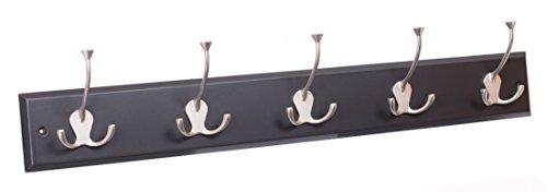 BirdRock Home Tri Hook Coat Rack  5 Hooks  Wall Mount Hat Rack  Black Finish  Satin Nickel Hooks