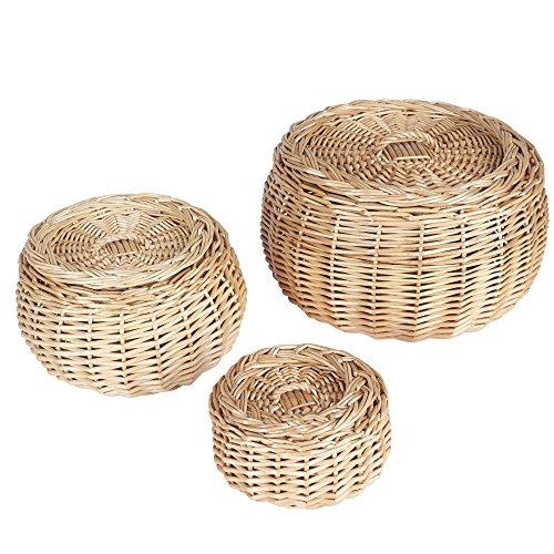 Household Essentials Round Vanity Wicker Storage Baskets with Lids 3 Pc Set Light Brown