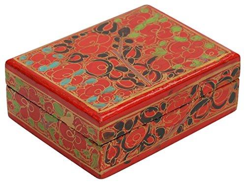 38 Inch Decorative Jewelry Box Trinket  Keepsake Box –Red Paper Mache Box - Gifts for Her
