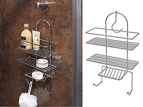 BUNITAChrome Shower Caddy Triple Organiser Hanging Hook Shelf Basket Tidy Bathroomhanging basket organizer bathroom