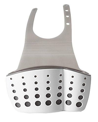 Kitchen Bathroom Hanging Basket Storage Thicker Double Sink Pouch Plastic Drain Sponge Holder Gadget Organizer Racks White-grey