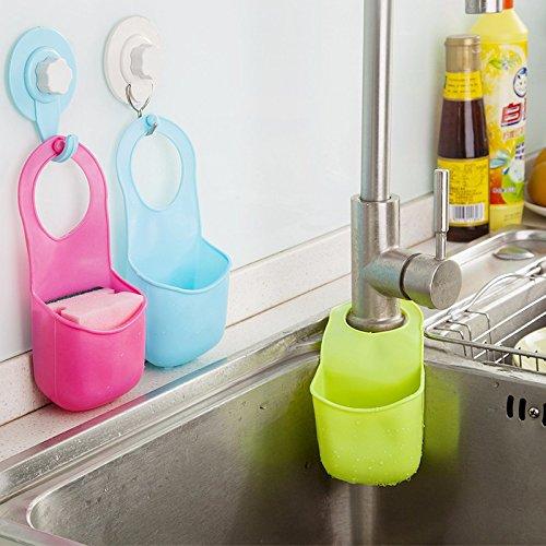 Pack of 3 Multifunctional Kitchen Bathroom Hanging Basket Storage Bag Filter Water Rack Hanger Three Colors Rose RedSky BlueFruit Green