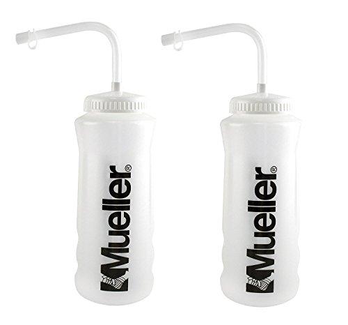 Mueller Quart Bottle wStraw New Design Natural Color w Black Letters 2-Pack