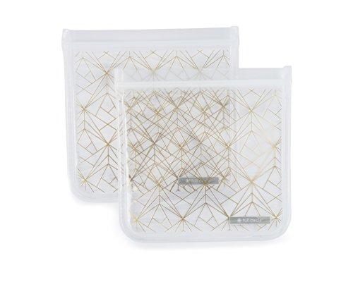 Full Circle FC16342G ZipTuck Kids Reusable Sandwich Bags Set Gold Geo