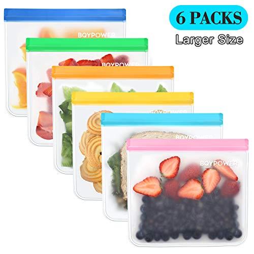 Reusable Sandwich Bags BQYPOWER Leakproof Lunch Bags for Kids Freezer Safe Baggies FDA Grade PEVA Reusable Ziplock Bags Great For Food Snacks Make-up StationeryTravel Home 6 pack