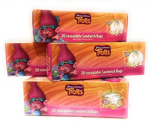 Trolls 5 pack X20 resealable Sandwich Bags