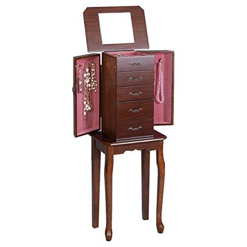 Jewelry Cabinet Armoire Storage Chest Stand Organizer Wood Box Walnut