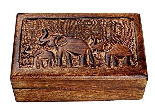 Store Indya Country Style Wooden Jewelry Trinket Keepsake Storage Box Organizer Multipurpose with Hand Carved Elephant Design