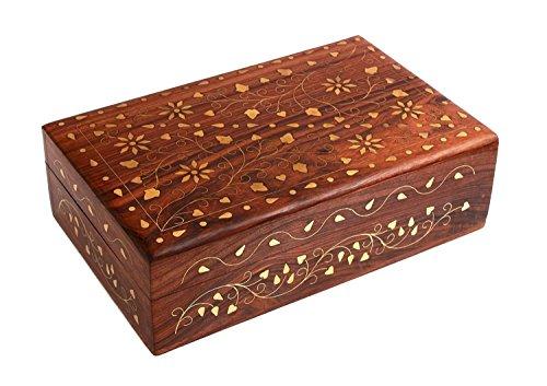 Store Indya Wooden Jewelry Trinket Box Organizer Keepsake Storage Chest - Home Decorative with Brass Inlay