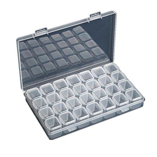 Techinal Clear Plastic 28 Slots Jewelry Storage Box - Nail Art Tools Case Organizer Box