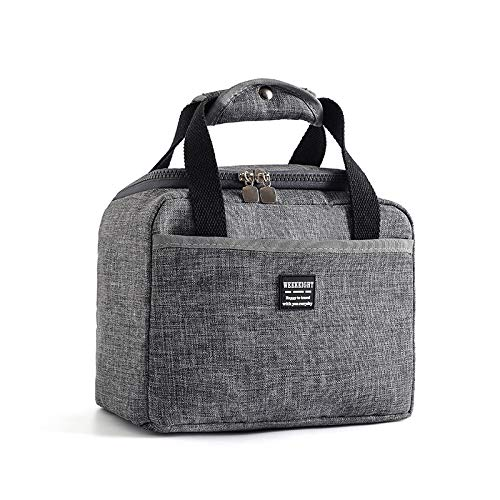 Insulated Lunch Bag Unisex Reusable Lunch Box Cooler Tote Water-resistant Thermal Leak-Proof Lunch Organizer for School Work Office Picnic CampingGrey