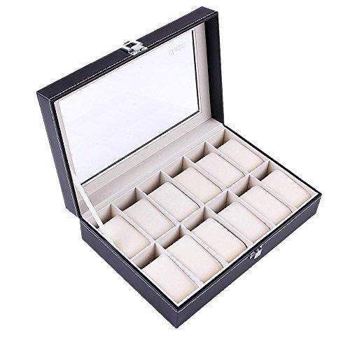 Ohuhu 12-Slot Leather Watch Box  Jewelry Display Storage Organizer Box