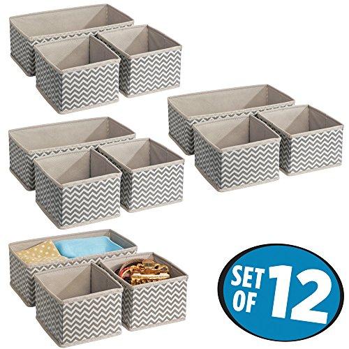 mDesign Fabric Closet Storage Organizer Box for Underwear Socks Bras Tights Leggings - Set of 12 Medium TaupeNatural
