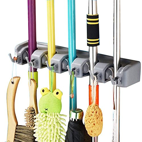 DayBuy Mop and Broom Holder with 5 Position and 6 Hooks Wall Closet Mounted Organizer Brooms Mops Rakes Automatic Handle Grips Household Tool and Garage Storage Organization Systems