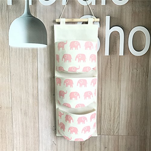Fieans Over the Door Organizer Wall Closet Hanging Storage Bag Multilayer Linen Fabric 3 Pouchs-Pink Elephant