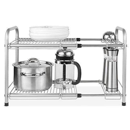 HOMFA Under Sink Expandable Cabinet Organizer Storage Rack Kitchen and Bath Multipurpose Tidy Stacking Shelf 2 Tier