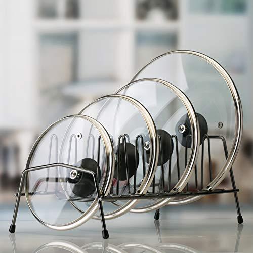 Kitchen Details Free Standing Pot Pan Cabinet or Counter Top Plat Rack Lids Organizer Onyx