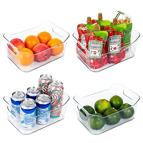 Vtopmart Refrigerator Organizer Bins 4 Pack - Clear Small Plastic Food Organizer with Handle for Fridge Freezer Cabinet Kitchen Pantry Organization and Storage BPA Free 95 Long