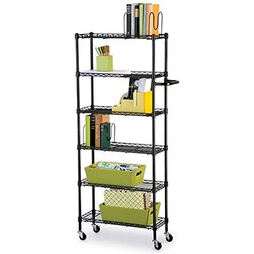 6 Shelf Mobile Rolling Kitchen Pantry Storage Cart Utility Organization Adjustable Black
