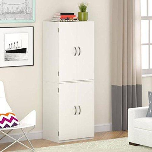 Gracelove Kitchen Pantry Storage Cabinet White 4 Door Shelves Wood Organizer Furniture  White Stipple