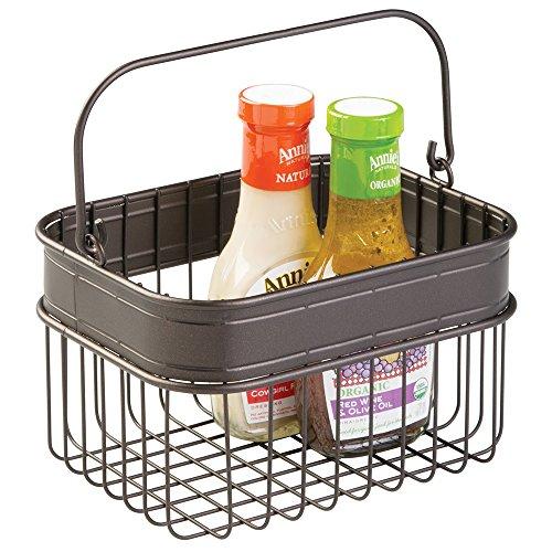 mDesign Kitchen Pantry Storage Basket for Condiments Napkins Produce Soda Bottles - Bronze