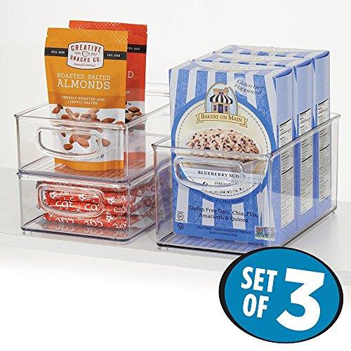 mDesign Kitchen Storage Bins Storage for Fridge Freezer Pantry Set of 3 - Clear