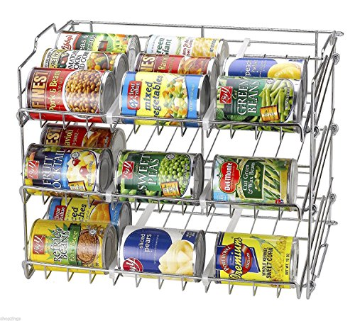 KIKY 36 Can Rack Holder Organizer Storage Kitchen Shelf Food Pantry Cabinet Cupboard Store up to 36 Cans of Varying Sizes 1736 Long X 1327 Deep X 1358 High