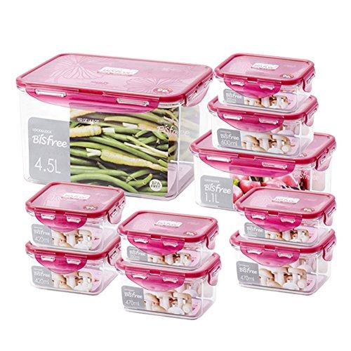 Lock&Lock Antibacterial Airtight Bisfree Stackable Food Storage Kitchen Container Set10 Packs