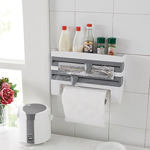 Katoot 3 In 1 Plastic Wall-Mounted Paper Towel Holder And Spice Rack With Wrap Foil Dispenser Home Kitchen Storage Organizer Grey