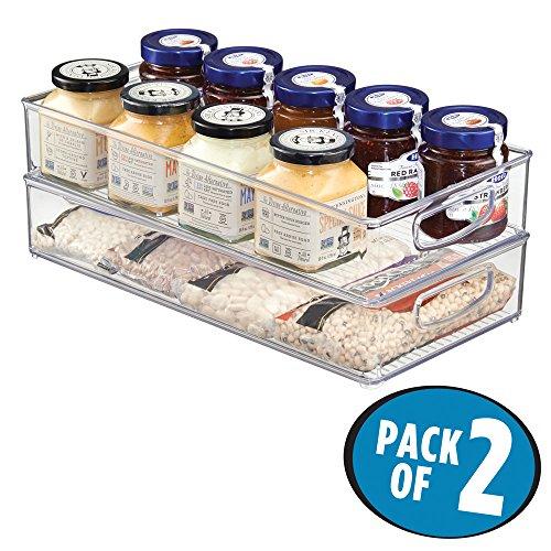 mDesign Kitchen Storage Organizer Bin for Pantry Refrigerator Freezer Cabinet - Pack of 2 16 x 8 x 3 Clear