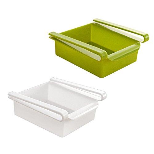 Dovewill Set 2 Pieces Kitchen Refrigerator Fridge Fresh Crisper Fruit Food Storage Rack DIY Sliding Box Container
