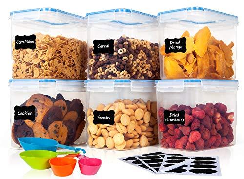Airtight Food Storage Containers - HOOJO 6 Piece 122oz  36L Airtight Plastic Food Containers for Dry Food Snacks BPA Free kitchen Storage Containers for Pantry