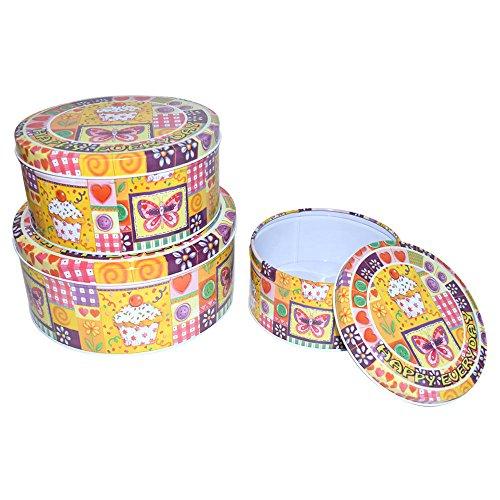 Kitchen Storage Tin Container With Lid Round 3pcs set
