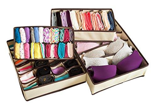 Adorn Insta-Shelf Set of 4 Closet Underwear Closet Storage OrganizerDrawer Organizer Drawer Divider