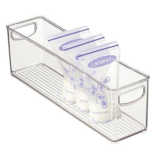 mDesign Baby Food Organizer Bin for Breastmilk Storage BagsFormula - 16 x 4 x 5 Clear
