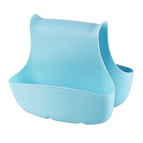 Creative Kitchen Double Saddle Sink Caddy Kitchen Organizer Storage Sponge Holder Brush Holder Organizer Blue