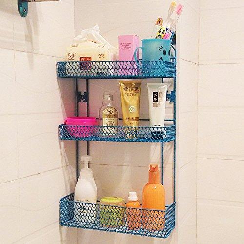 SS-Bathroom racks bathroom wall shelf organize kitchen cruet rack wall rack  blue